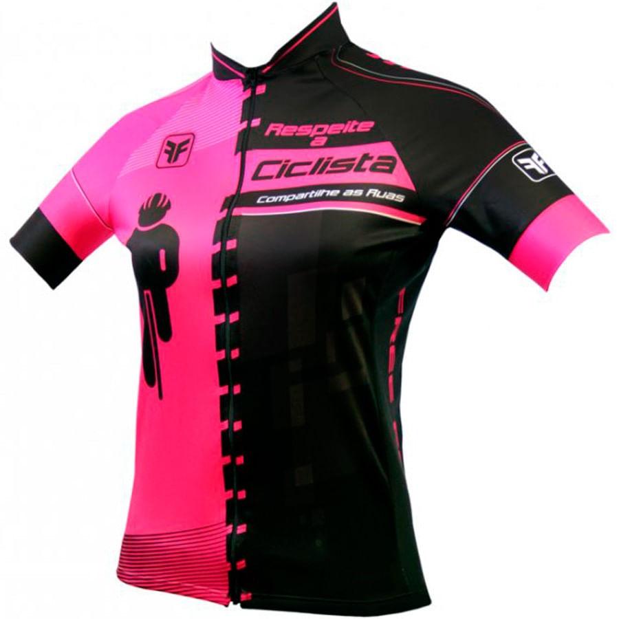 Camisa para Ciclismo Feminina Free Force Transit Preta / Rosa 3209