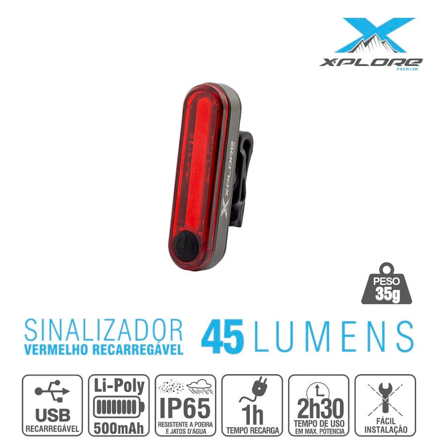 Lanterna Traseira de Bike Pisca Recarregável X-Plore 45 Lúmens 7214