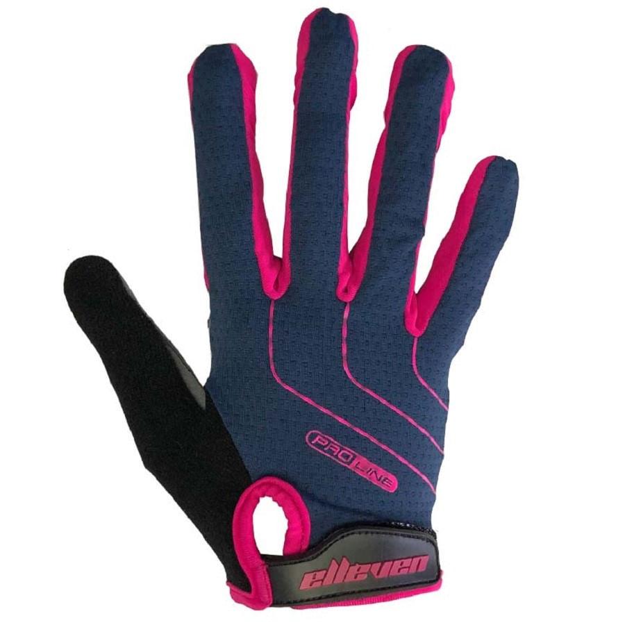 Luva de Bike Gel para Ciclista Elleven Proline Azul Rosa Dedo Longo 7914